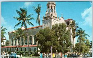 PALM BEACH, Florida FL   Crowd ST. EDWARDS CATHOLIC CHURCH 1950s Cars Postcard