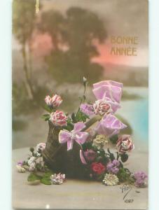 tinted rppc c1910 BEAUTIFUL FLOWERS AC9074