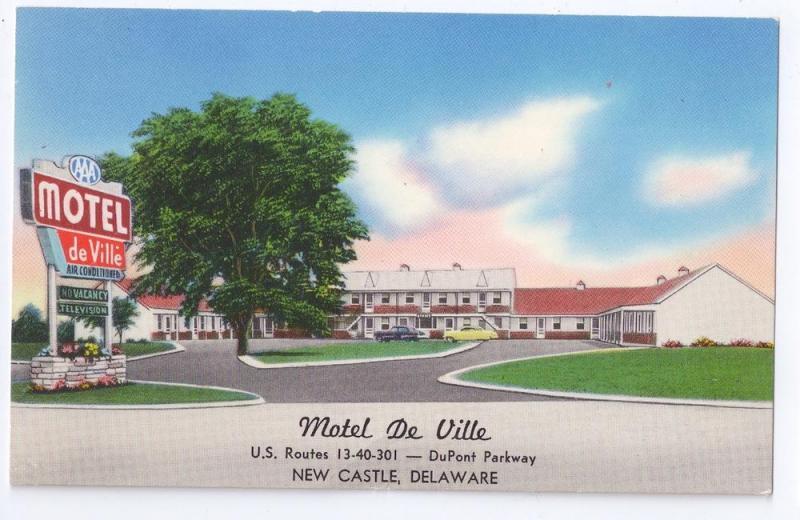 Motel De Ville New Castle Delaware DE US 40 Route 13 Advert