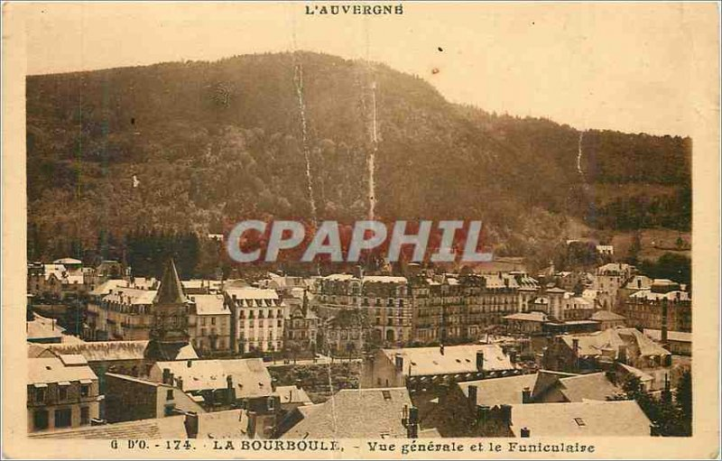 Old Postcard Auvergne La Bourboule Vue Generale and the Funicular