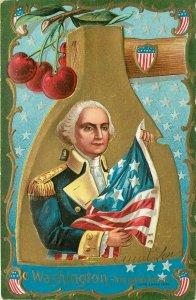 Washington Presidents Day Ax Cherry Tree American Flag pm 1908 Embossed Postcard