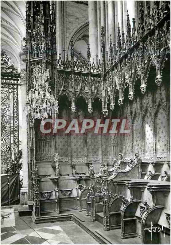 Modern Postcard Amiens (Somme) Interior of the Cathedral Corner Stalls (XVI c...