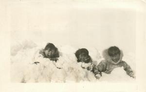 SNOW BARROW ALASKA ESKIMO KIDS VINTAGE REAL PHOTO POSTCARD RPPC