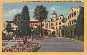 The Beverly Hills Hotel, Beverly Hills, CA, Early Linen Postcard, Used in 1952