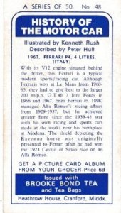 Trade Card Brooke Bond History of the Motor Car No 48