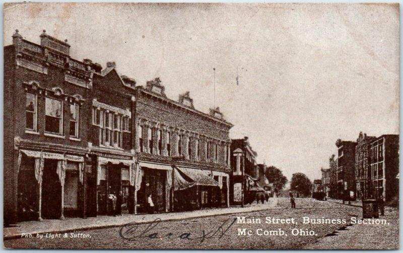 McComb, Ohio Postcard Main Street, Business Section Downtown Scene 1908 Cancel