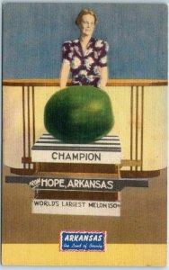 Vintage Hope, Arkansas Postcard World's Largest Melon Linen c1940s Unused