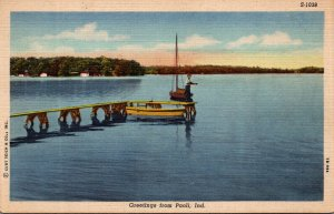 Indiana Greetings From Paoli Lake Fishing Scene Curteich