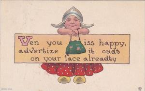 Dutch Girl Smiling Ven you iss happy 1913