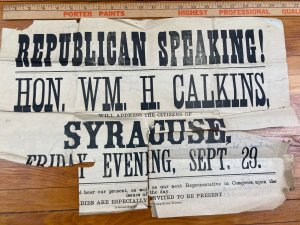 Antique 1882 William Calkins Republican Political Speech Poster Syracuse Indiana