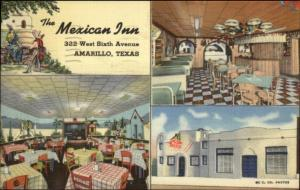 Amarillo TX The Mexican Inn West Sixth St. LINEN Postcard