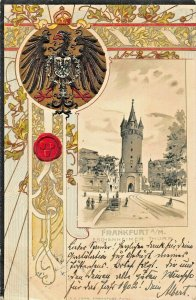 FRANKFURT GERMANY~ESCHENHEIMER THURM~1901 EMBOSSED GERMAN HERALDRY POSTCARD