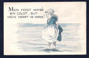 Dutch Girl in Water 'Mein Heart is Varm' unused c1910's