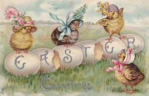 EASTER, PU-1913; Greeting, chicks wearing bonnets TUCK #755