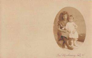 Far Rockway Long Island New York Girl and Baby Real Photo Postcard J56235