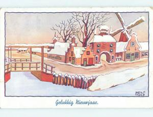 1942 new year signed FOREIGN - WINDMILL COVERED WITH SNOW o4487