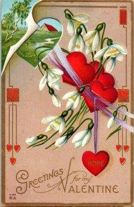 VTG Postcard Valentine Greetings Hope Barn 1912 Salinas California Embossed 1169
