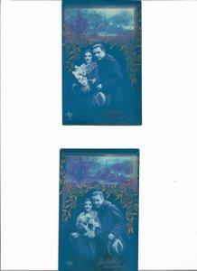 Art Nouveau - Romantic Couple Lot of 3 Postcards 01.08