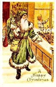 Greeting - Christmas. Santa Claus in Green Robe  (Reproduction)