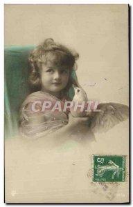 Old Postcard Fun Children Dove