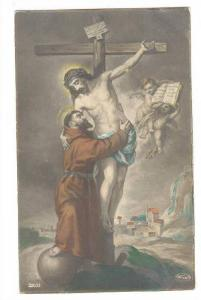 Monk hugs Jesus on the cross , 00-10s