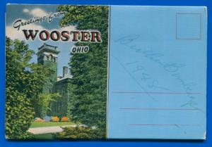 Wooster Ohio oh liberty street Air View 3 bridges travel postcard folder foldout