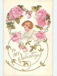 Divided-Back valentine CUTE GIRL WITH PINK ROSE FLOWERS o5197
