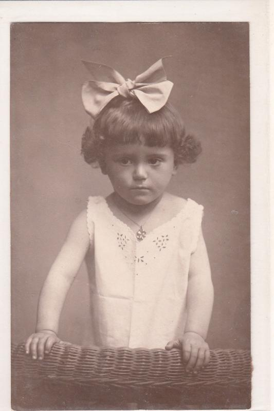 Cute little girl children topic vintage postcard