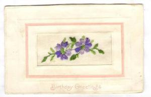Embroidered Violet flowers Birthday Greeting, 00-10s