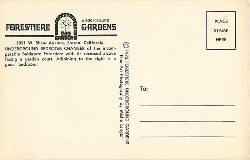Underground Bedroom Chamber Forestiere Gardens Fresno CA
