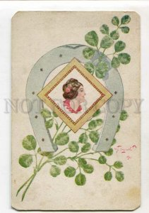 3148212 ART NOUVEAU Portrait Lady horseshoe by PLOSHINSKY old