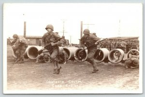 Camp Callan CA~WWII Soldiers~Obstacle Course~Full Gear~Truman Yardley~1940s RPPC