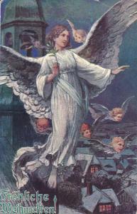 CHRISTMAS : Angels flying over town , Froliche Weihnachten! , PU-1921