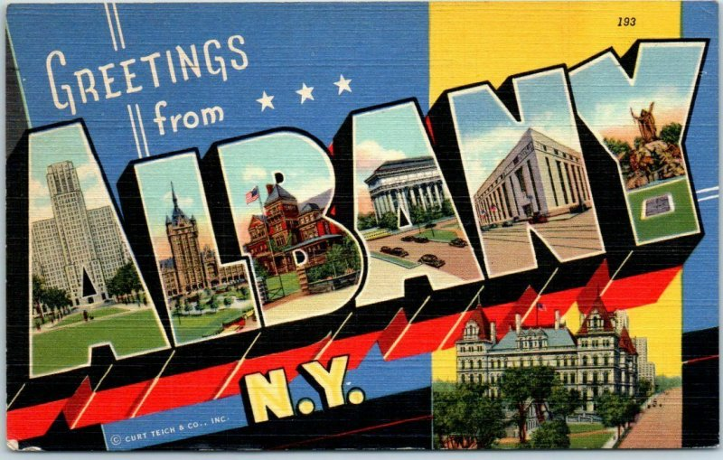 1941 ALBANY New York Large Letter Postcard State Capitol Curteich Linen w/ Cance