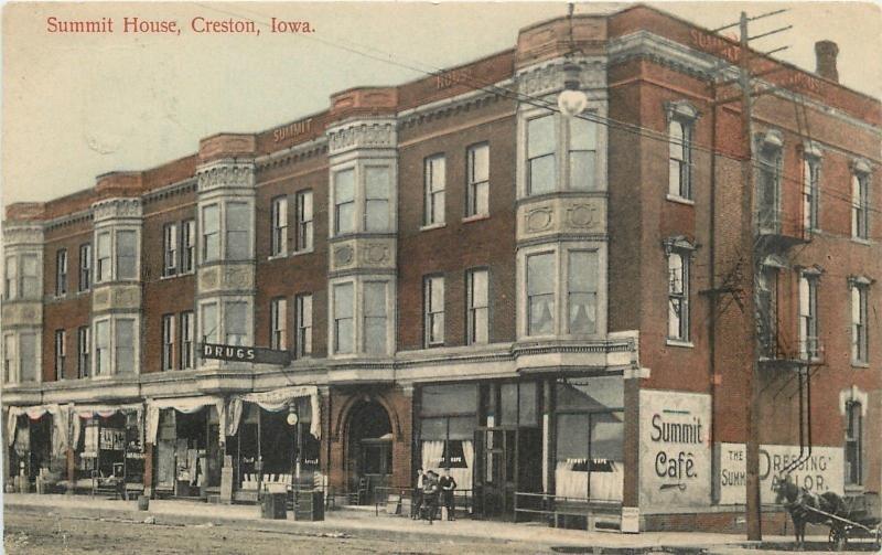 Creston Iowa Summit House Hotel Cafe Dressing Parlor Geo Newcomb 1909