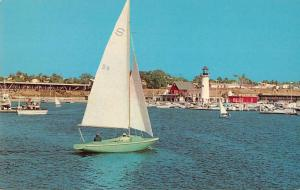 Oceanside California Yacht Harbor Sailboats Vintage Postcard JD933999