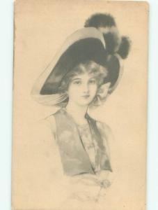 Pre-Linen Fashion PRETTY GIRL WEARING BIG HAT AB7538