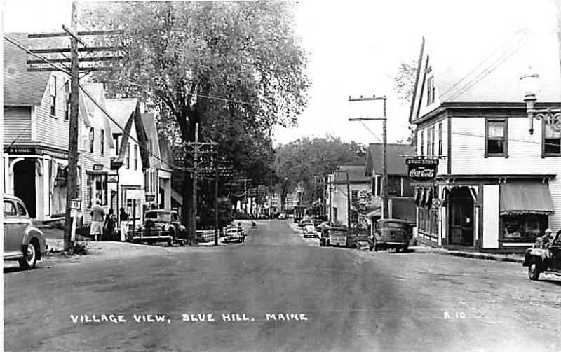 Blue Hill ME Village View Store Front's Drug Store RPPC Postcard