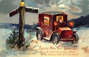 Brown Suited Santa Claus Truck Hearty New Year Postcard