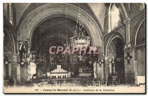 Old Postcard Paray Le Montal Interior Of The Visitation
