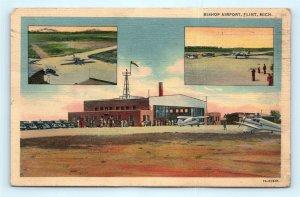 Postcard MI Flint Bishop Airport Multiview Vintage Linen B37