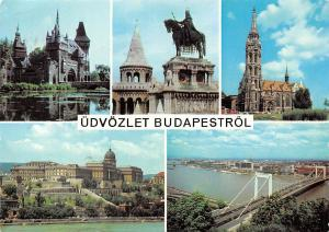 Hungary Udvozlet Budapestrol, Gruss, Greetings from Budapest, multiviews statue