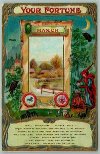 March Fortune~Bloodstone~Red Witch Stirs Pot~Owl~Black Cat~Bat~Gold Emboss