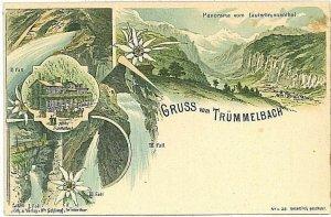 Ansichtskarten Schweiz VINTAGE POSTCARD: SWITZERLAND - GRUSS AUS: TRUMMELBACH