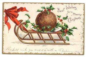 Signed Clapsaddle Plum Pudding Sled 1907 UND Embossed Gilt Christmas Postcard