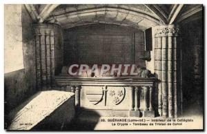 Postcard Old Guerande Interior of collegiate crypt tomb of Tristan Carne