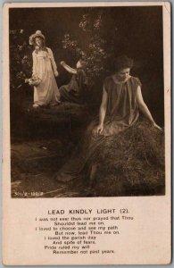 Vintage 1908 Bamforth Religious RPPC Real Photo Postcard LEAD KINDLY LIGHT (2)