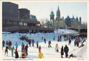 Canada Ottawa Winter Run On Rideau Canal Ice Skaters