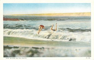 Surf Bathing on the Pacific Swimmers Bathers White Border Unused Postcard PNC