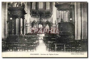 Old Postcard Chaumont Interior of the Church of St John